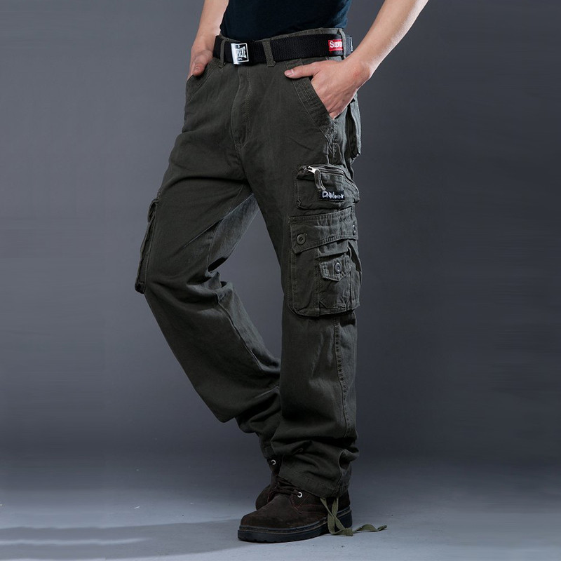 DUQI High Quality Multi Pockets Cargo Pants Men 2018 New Arrival Fashion Casual Pants Loose Cotton Straight Trousers