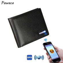 2018 Bluetooth Men's Leather Wallet Short Cowhide Smart Thieves Anti-theft USB IOS Android fashion wallet genuine leather