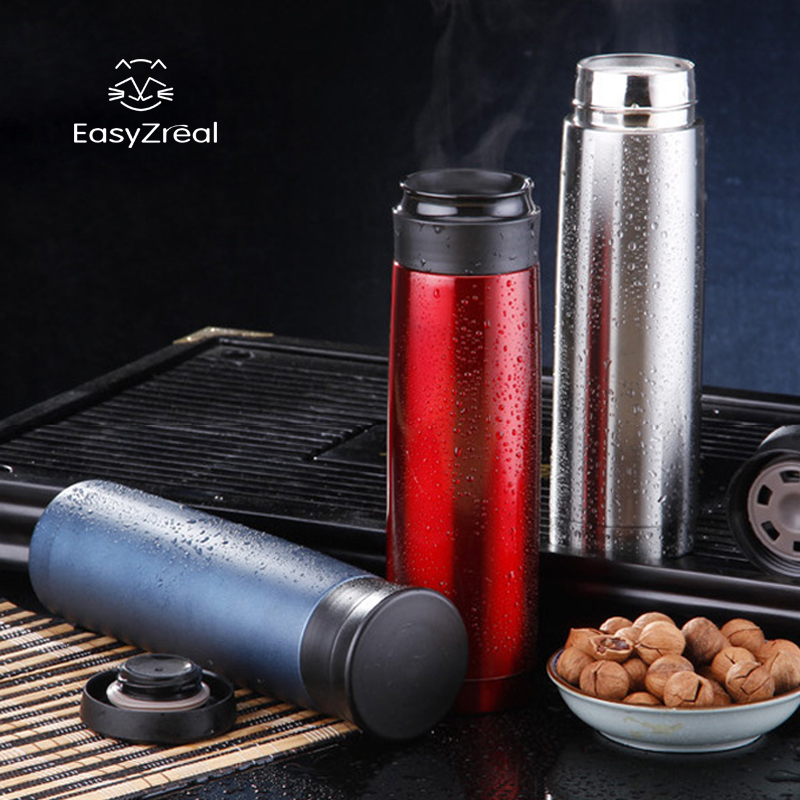 500 ml rostfritt stål vakuum kvinna män svart vatten flaska frostad - Kök, matsal och bar