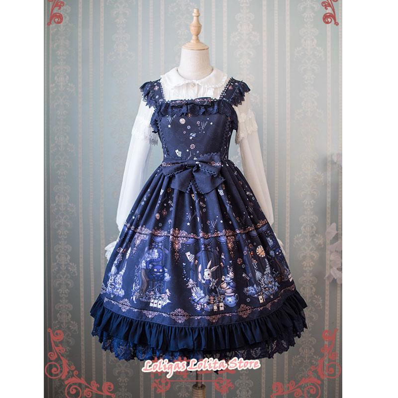 Sweet Lolita JSK Dress Alice Wonderland Series Printed Empire Waist Sleeveless Dress by Strawberry Witch