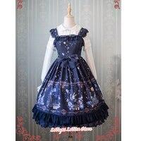 Sweet Lolita JSK vestido Alice Wonderland serie impreso cintura imperio sin mangas Vestido por Strawberry Witch