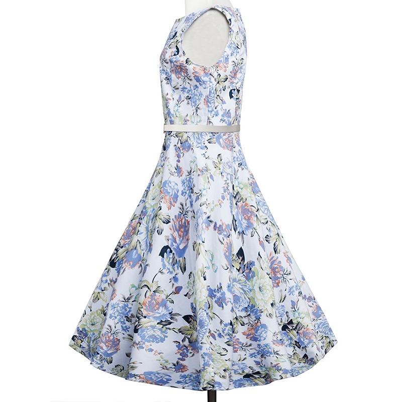 Kostlish Elegant Print Women Summer Dress Sleeveless Audrey Hepburn 50s 60s Vintage Dress With Belt Casual A-Line Ladies Dresses (6)