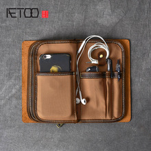 AETOO Multifunctional Crazy Horse Leather Mens Clutch Retro Phone Bag Kit