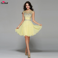 TaoHill Fashion A line Bateau Neck Mini Yellow Bridesmaid Dresses Beads and Crystals Chiffon KeyHole Maid of Honor Dress