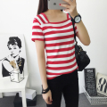 2017 spring summer fashion striped print t shirt women short sleeve square collar t-shirt tops & tees loose basic shirt crops