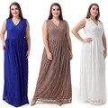 Novo 2017 tamanho grande vestido de renda vestidos de festa v neck mangas dress mulheres verão casual dress 9xl
