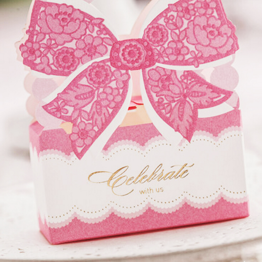 1Pcs Pink environmental paper flat Candy Chocolate Box with Rose ...