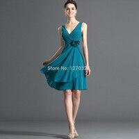 Vestido madrinha 2017 새로운 섹시한 V 넥 쉬폰 라인 차 공작 블루 들러리 드레스