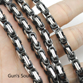 Free Shipping,25inch long Silver Black 2 tone Men's Stainless Steel High Polish Byzantine Chain Necklace Fashion,Wholesale LN304