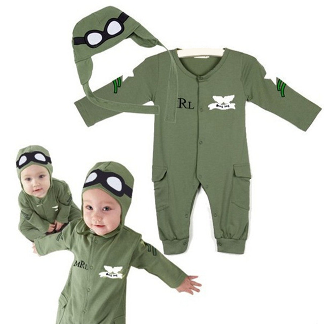 Funny Baby roupas pilotos bebê conjunto Romper do bebê macacão de bebê menino moda ( 1 Romper + 1Hat )