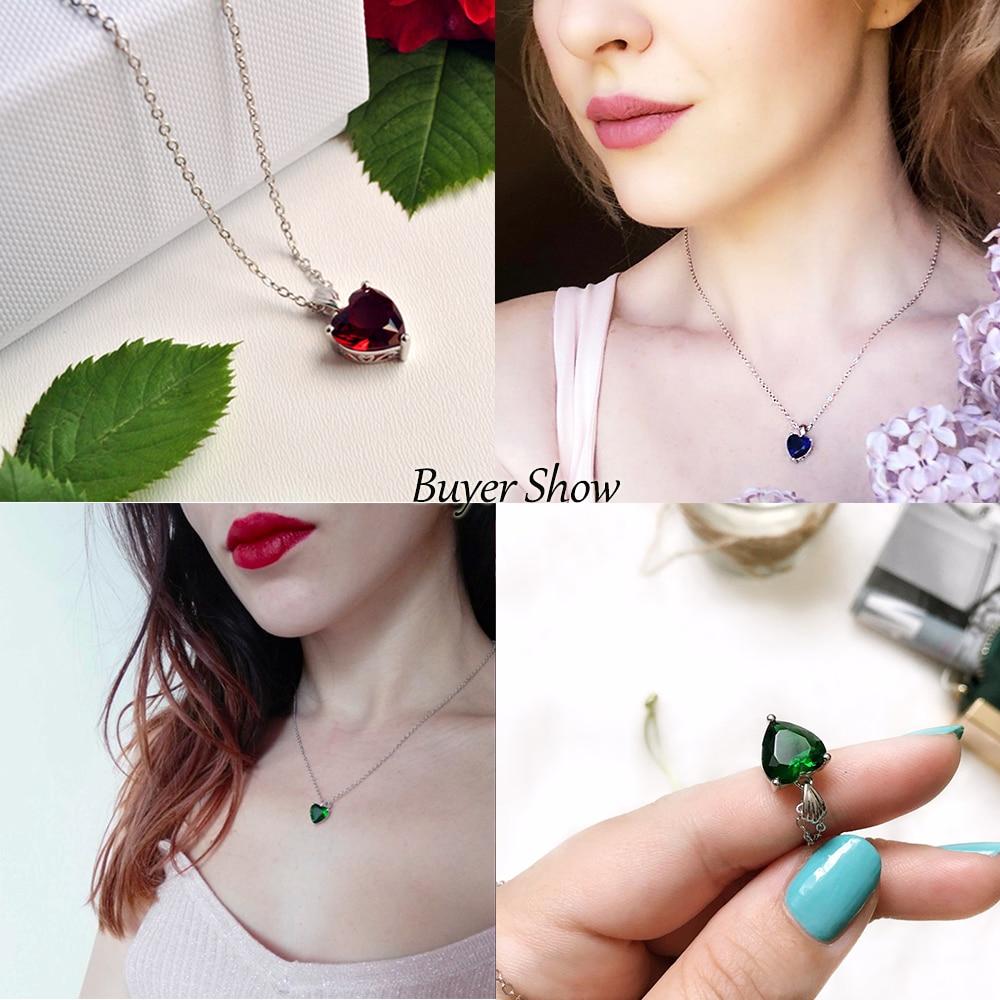 Dvojno-R 925 Sterling Silver Emerald Ogrlica Sapphire Privjesak Ruby - Fine nakit - Foto 3