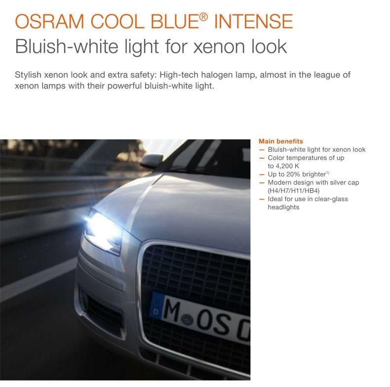 OSRAM Cool Blue Intense Car Bulbs H1 Headlight Fog Light Bulb 4200k Xenon Look