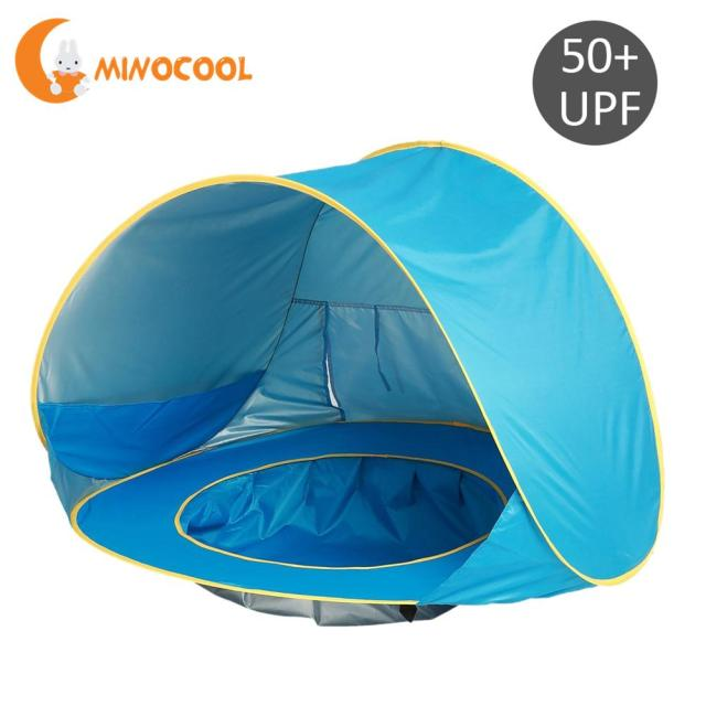 Children Waterproof Pop Up Awning Tent Baby Beach Uv Protecting Sunshelter With Pool Kids