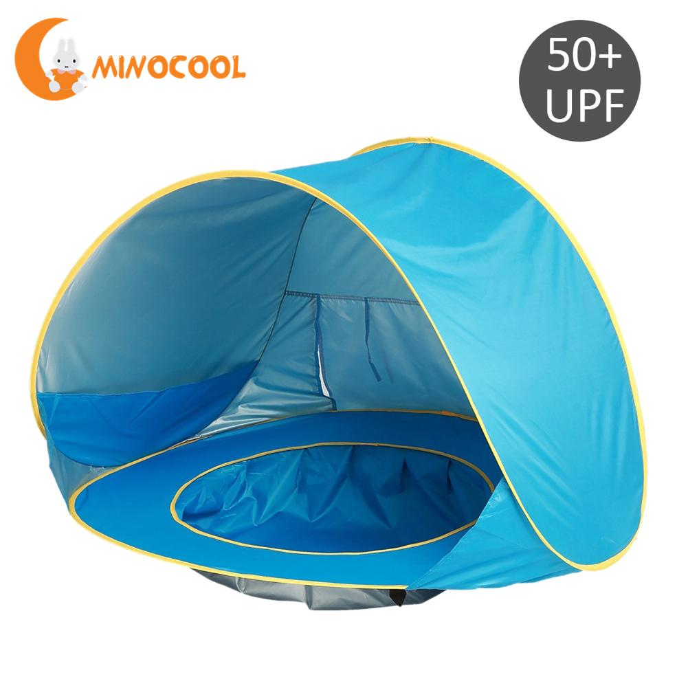 Children Waterproof Pop Up Awning Tent Baby Beach Tent UV-protecting Sunshelter with Pool Kids Outdoor Camping Sunshade Blue