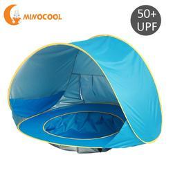 Enfants imperméable Pop Up auvent tente bébé plage tente uv-protection parasol avec piscine enfants Camping en plein air parasol bleu