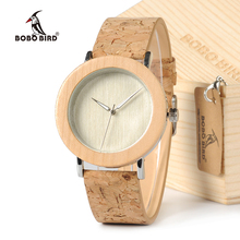BOBO BIRD E21 Bamboo Wood Men Watches With Mental Quartz Watches Real Leather Band Janpanese Movement In Gift Box