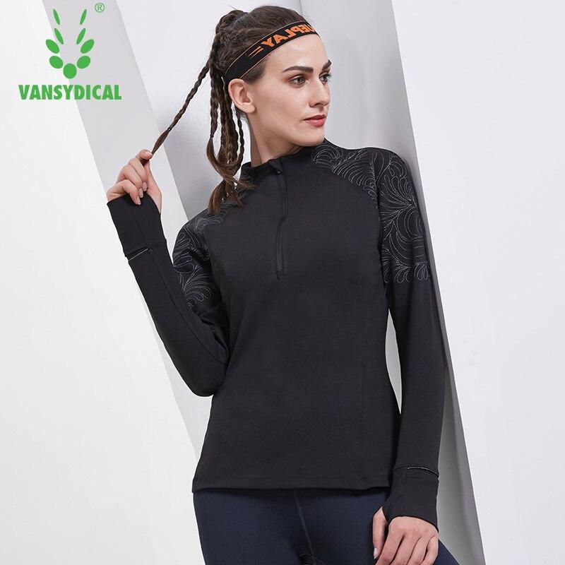 Vansydical femmes pulls de course brodés Yoga chemises demi fermeture éclair formation survêtement vêtements respirant Fitness Sportswear