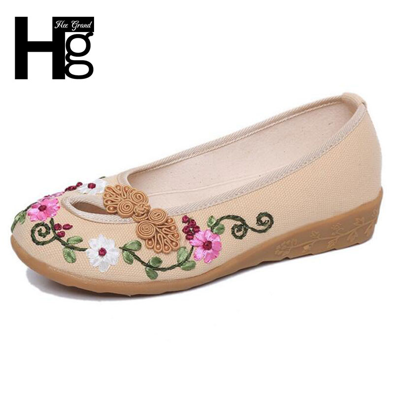 HEE GRAND Plus Size 35-40 Chinese Style Traditional Women's Loafers Unique Manual Flower Flat Shoes for Woman XWC1126 old beijing embroidered women shoes mary jane flat heel cloth chinese style casual loafers plus size shoes woman flower black