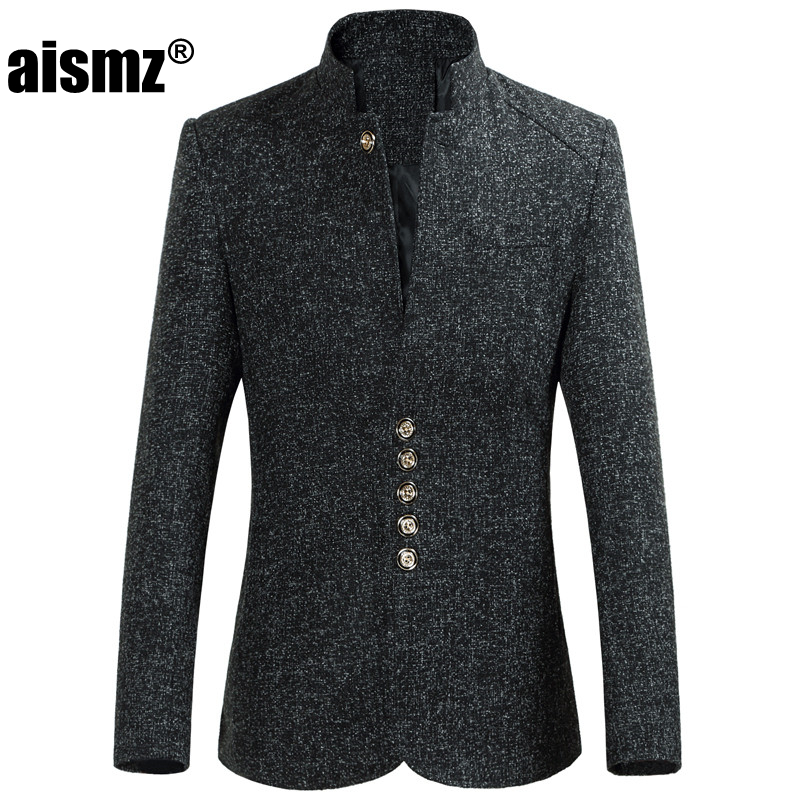 Aismz Blazer Men Spring Autumn New Style Stand Collar Male Blazer Slim Fit Mens Blazer Jacket Plus Size M-5XL 6XL High Quality