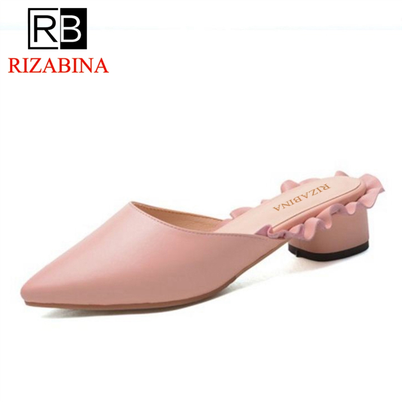 7ff74afccf57 Sandals Leather Elegant Women Women Slippers RizaBina Real 40 Flats Shoes  Toe Fashion Summer Size Pointed ...