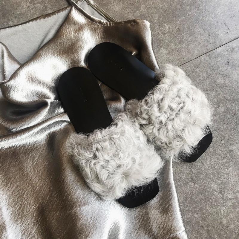 Autunno 2018 brown All'aperto Diapositive Grey Flip Muli Signore Pelliccia Per Piatto Le Inverno Pantofole Pigri Divertente Da Pecora flop Donna Furry Di Scarpe Chic Tacco rCvrqwS
