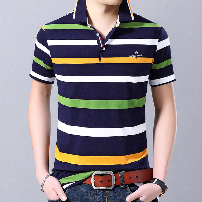 2019 New Fashion Brand Designer   Polo   Shirt Men's Striped Summer Short Sleeve Slim Fit Cotton Poloshirt Casual Mens Clothing