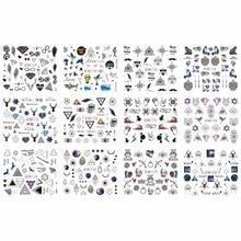 12 Pak/partij Water Decal Nail Art Sticker Volledige Bloem Cover Geometrie Driehoek Eye Herten Tribal Teken Boog Pijl BN1129 1140