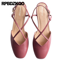 Size 33 Sandals Slingback Cross Strap Pumps Japanese Red Prom Shoes Chunky Beige Genuine Leather Medium Heels Square Toe Women