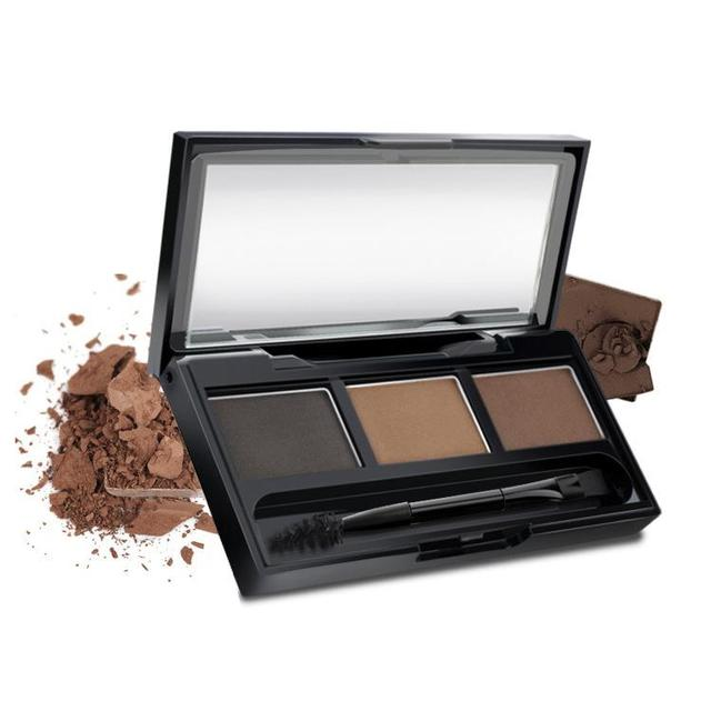 3 Color Eyebrow Powder Palette Cosmetic Eye Brow Enhancer Professional Waterproof Makeup Eye Shadow With Brush Mirror Box