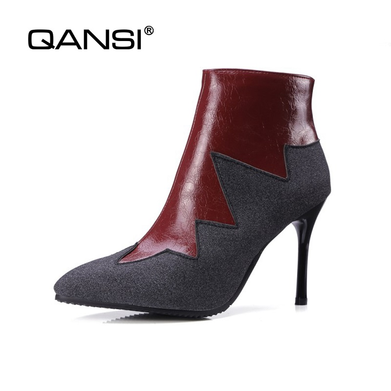 QANSI Spring Women's Flock Ankle Boots Ladies Zipper Shoes High Square Heel Pointed Toe women boot Thin Heels sexy women shoes nemaone 2018 women ankle boots square high heel pointed toe zipper fashion all match spring and autumn ladies boots