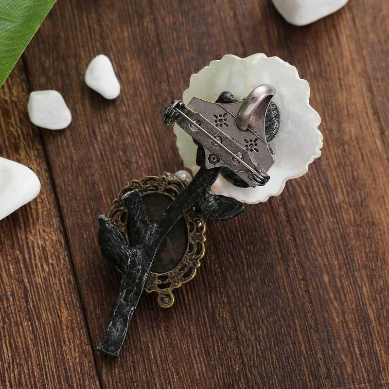 TDQUEEN Spille per Le Donne Naturale Borsette Fiore Argento Antico Placcato Perle D'acqua Dolce Grande Da Sposa Spilla Bouquet Spille Spilla
