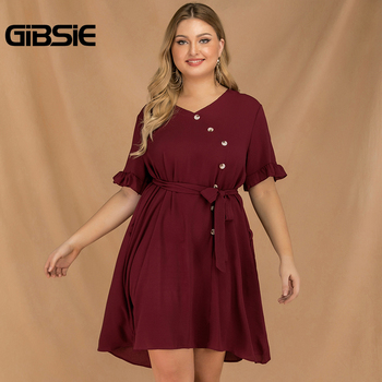 GIBSIE Plus Size Burgundy V-Neck Short Sleeve Button Women Dress Summer Boho Casual Loose Clothing Female Midi Dress with Belt