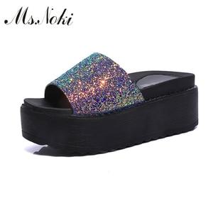 Ms. Noki/женские шлепанцы серебристого цвета на весну-лето, модные черные шлепанцы с открытым носком на платформе для девушек, Лидер продаж