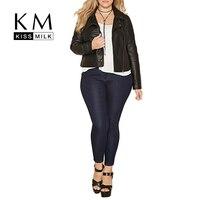 Kissmilk плюс Размеры Для женщин сплошной черный молния Курточка бомбер Повседневное дамы с длинным рукавом формирование пальто осень коротка...