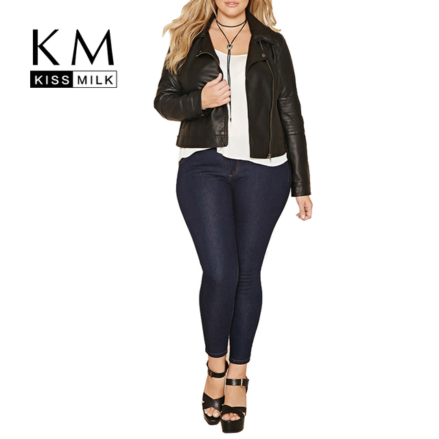 Kissmilk Plus Size Mulheres Sólidos Preto Com Zíper Jaqueta Casual Outono Jaqueta Curta de Manga Comprida feminina Moldar Casaco 3XL 4XL 5XL
