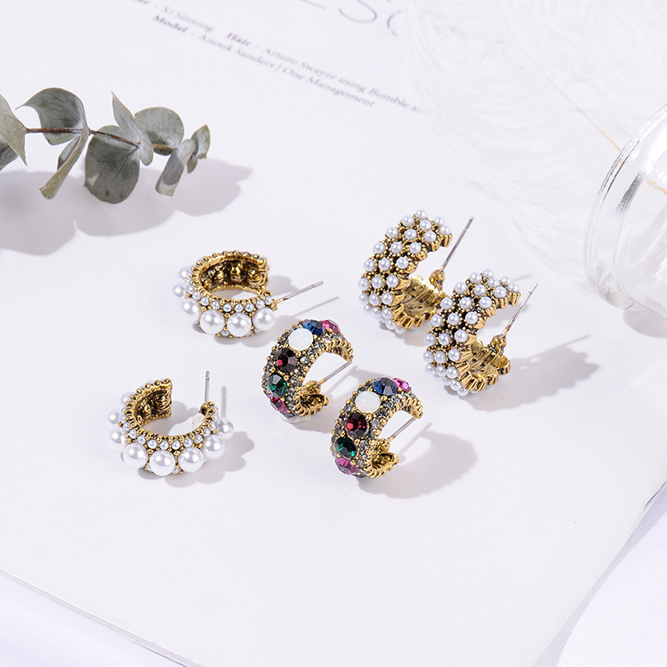 HTB1TR1UazzuK1RjSsppq6xz0XXaD - MENGJIQIAO 2019 New Hot Sale Vintage Colorful Rhinestone Small Hoop Earrings Women Fashion Simulated Pearl Semicircle Pendientes