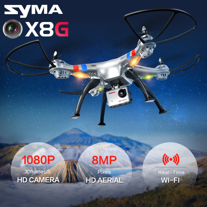 Quadcopter SYMA X8W X8G 2.4G 4CH 6 Axis Professional FPV RC Drone With 8MP HD Camera Wifi Real-time Transmit Helicopter syma x8c 2 4g 4ch professional fpv quadcopter drone with hd camera wifi real time transmit control helicopter toy