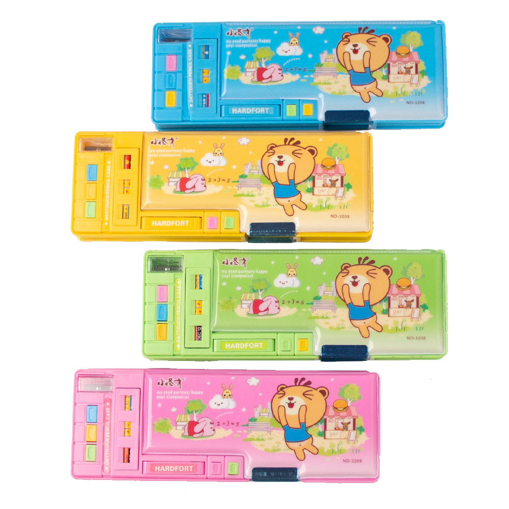 Multifunctional Stationery Box Pencil Box Double Faced Automatic Plastic Pencil Case School Cute Students Storage Creative Gift