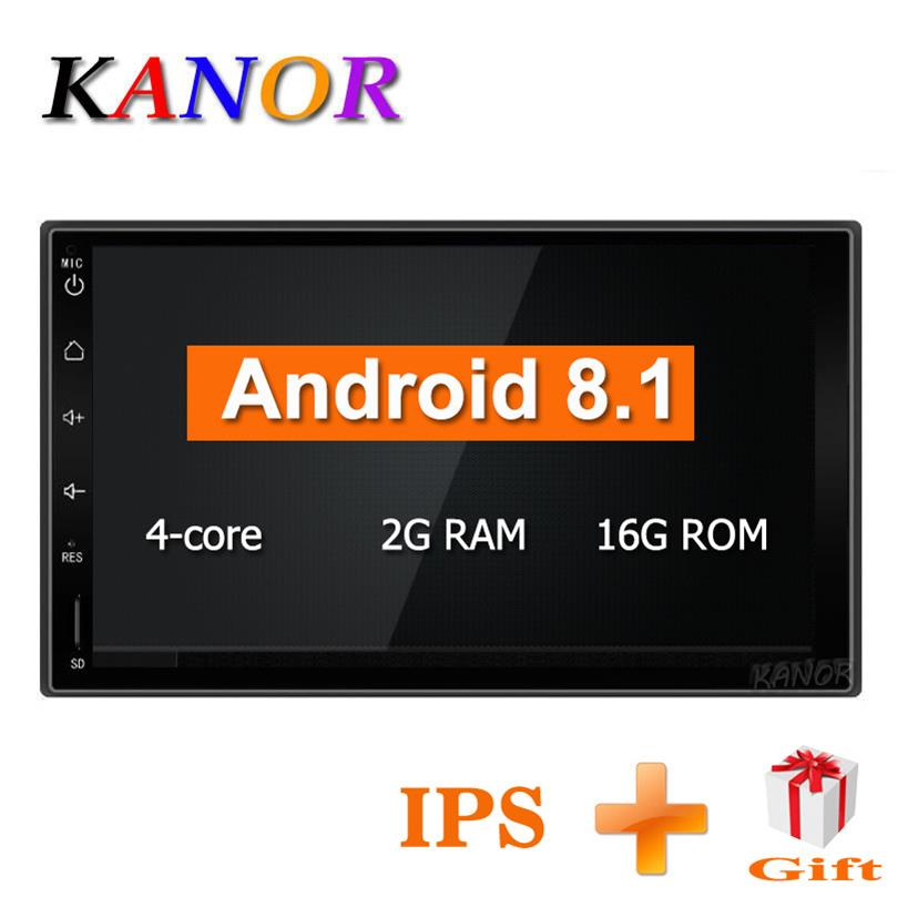KANOR Quad Core RAM 2G ROM 16G 2 Din Android 8.1 Universal Car Audio Stereo Radio With GPS WiFi GPS Navigation Video Head Unit