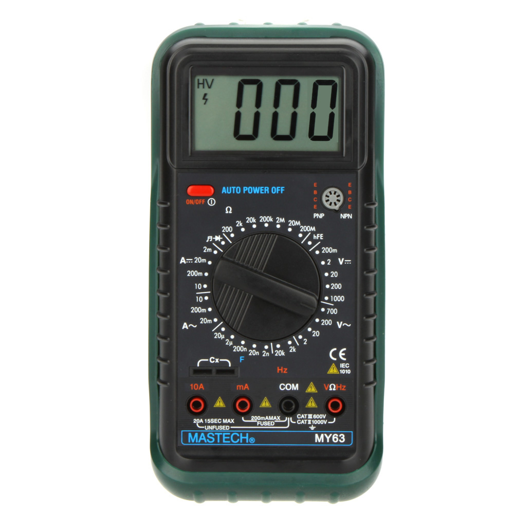 MASTECH MY63 Digital Multimeter 2000 counts DMM w/Temperature Capacitance & hFE Testers Meters Ammeter Multitester  цены