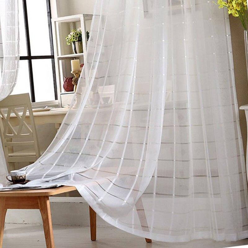 US $16.46 |Moderne einfache weiße gitter bildschirm wohnzimmer schlafzimmer  vorhang tüll wohnzimmer vorhänge gardinen 084-in Vorhänge aus Heim und ...