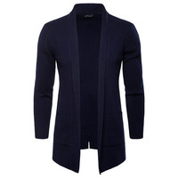 FeiTong Sweater Men Autumn New Mid Long Pure Color Knitted Jacket Fashion Pure Long Mens Cardigans 2018 Men Jumper Sweater