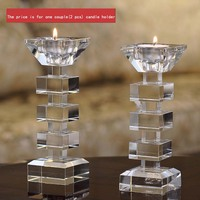 Creative Clear Crystal Candle Stand Candlestick Holder Glass Tealight Holder for Stick and Tealight Dinner Decor DEC176