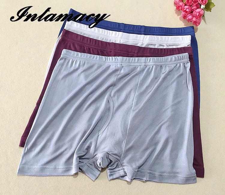 Calças masculinas high-end 100% boxers de seda real, exportação masculina quatro linha de seda de malha shorts calças