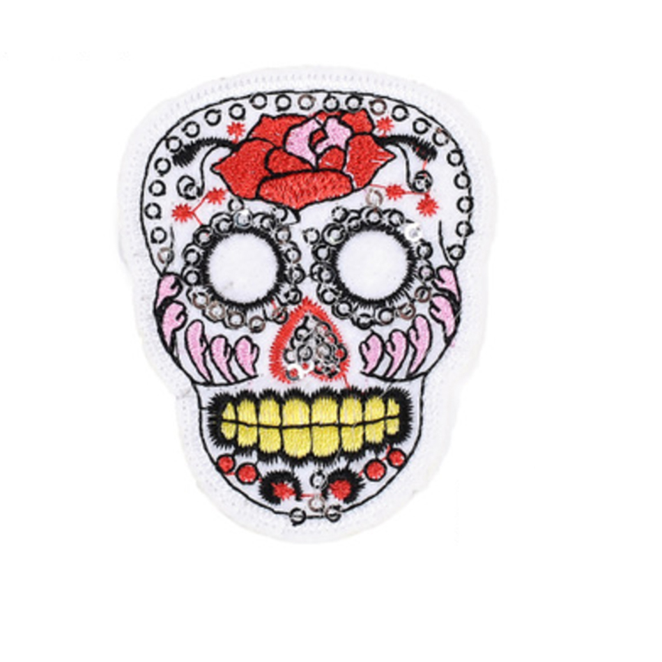 1Pcs Iron On Patches Clothes DIY Flowered Skull Embroidered Patches For Clothing Fabric Badges Sewing Patches