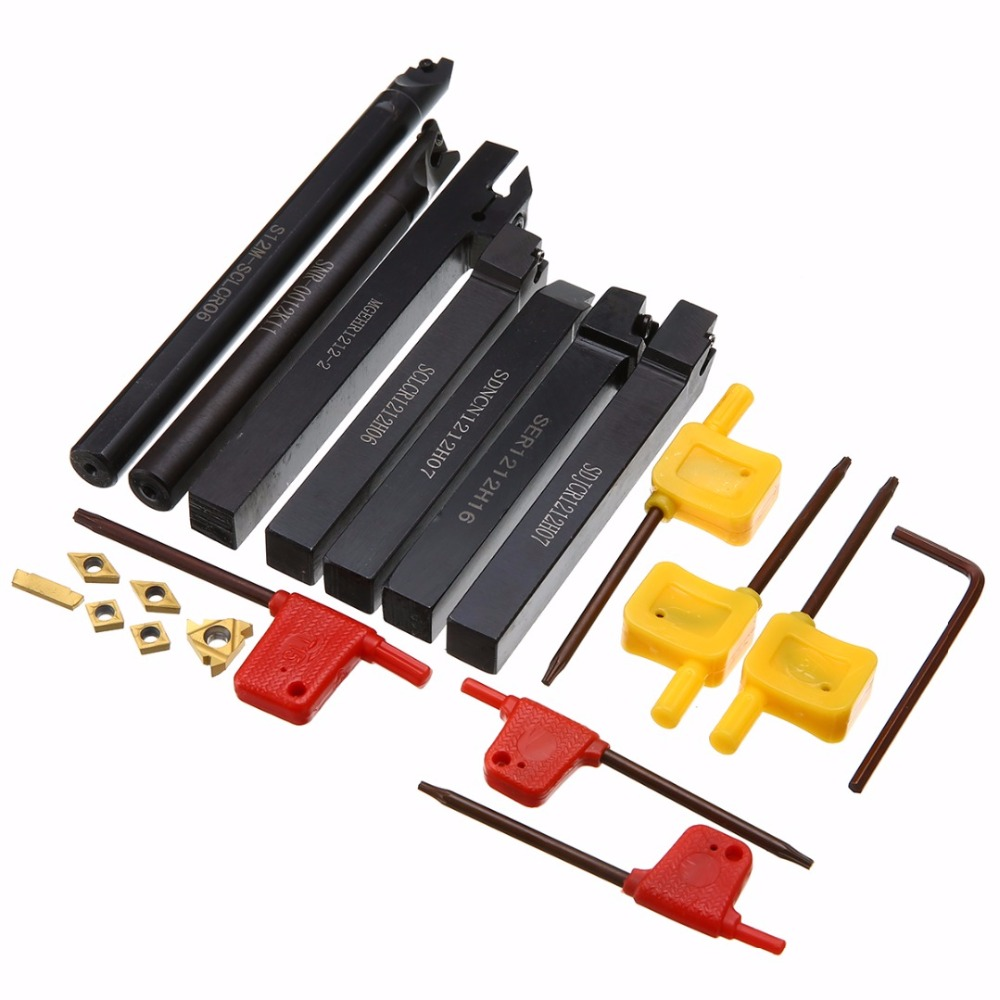 7pcs S12M-SCLCR06/SER1212H16 Tool Holder Boring Bar + 7pcs Carbide Inserts with 7pcs Wrench For Lathe Turning Tool ser1616h16 holder external thread turning tool boring bar holder with 10pcs 16er ag60 inserts