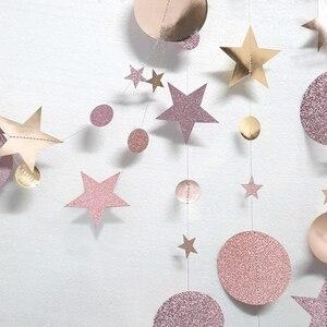 Image 5 - 4m brokat koło ciąg gwiazd girlanda papierowy baner strona dekoracji ślub urodziny pokoju dziecięcego wiszące dostaw