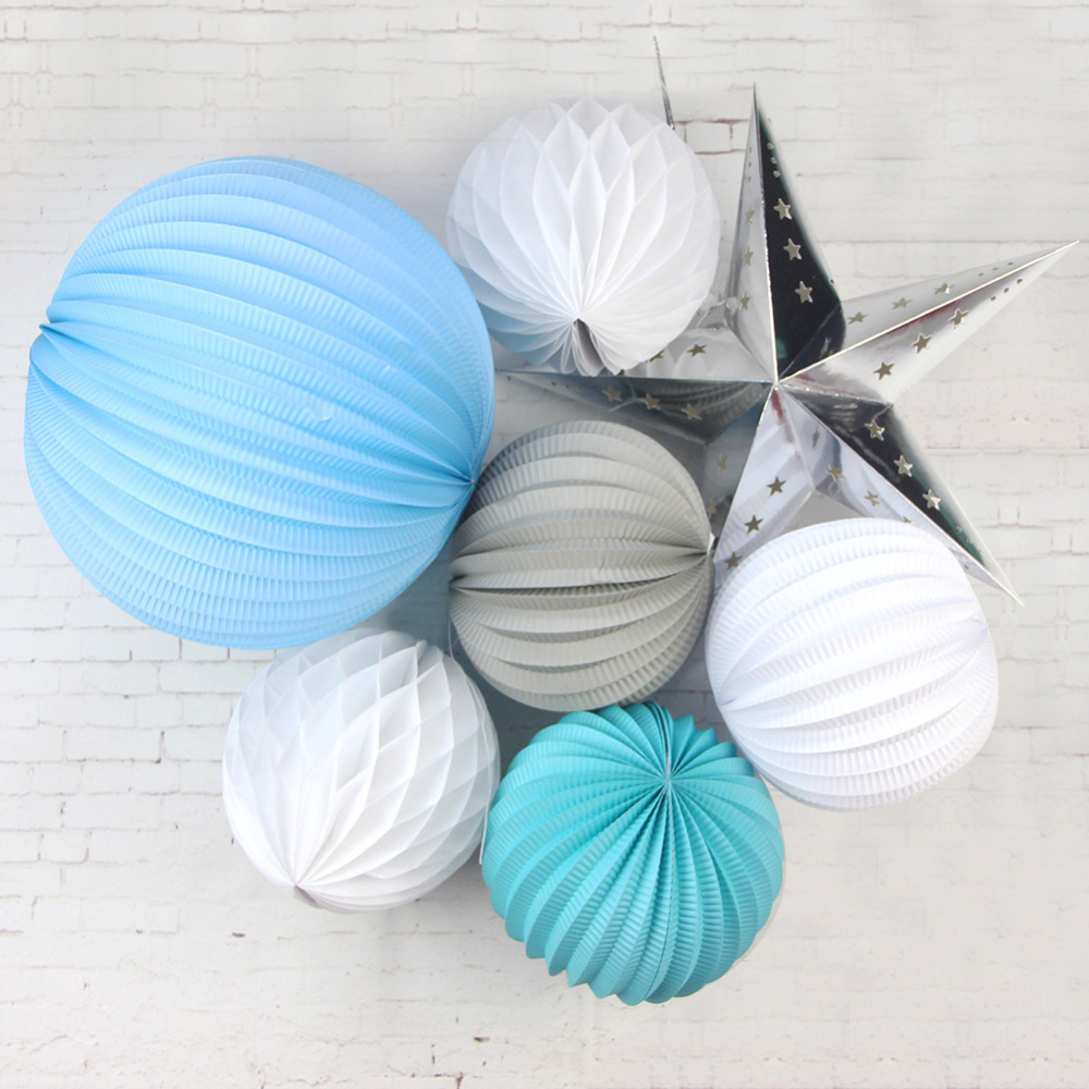 7pc (Blue White Grey)Party Decoration Set Pleated ...