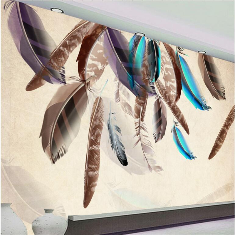 Custom Wall Paper 3d Fashion Color Feather Art Vintage Wallpaper TV Background Kitchen Study Bedroom Living Room 3d Wall Murals 3d stereo window planet earth from outer space background 3d wallpaper murals living room bedroom study paper 3d wallpaper