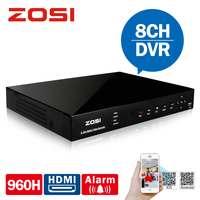 ZOSI 8 Channel H 264 960H CCTV DVR Real Time Recording Free DDNS P2P Cloud Network